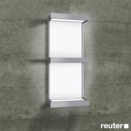 Sprinz R-Line Lichtregal Modell 01, beleuchtet aluminium matt, Rückwand weiß, beleuchtet