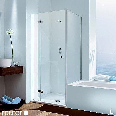 Duschkabine mit verkürzter seitenwand auf badewanne