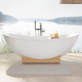 villeroy boch my nature duo freistehende badewanne star white holzkonsole kastanie. Black Bedroom Furniture Sets. Home Design Ideas