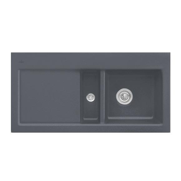 villeroy boch subway 60 sp le mit handbet tigung b 100 t 51 cm becken rechts graphit. Black Bedroom Furniture Sets. Home Design Ideas
