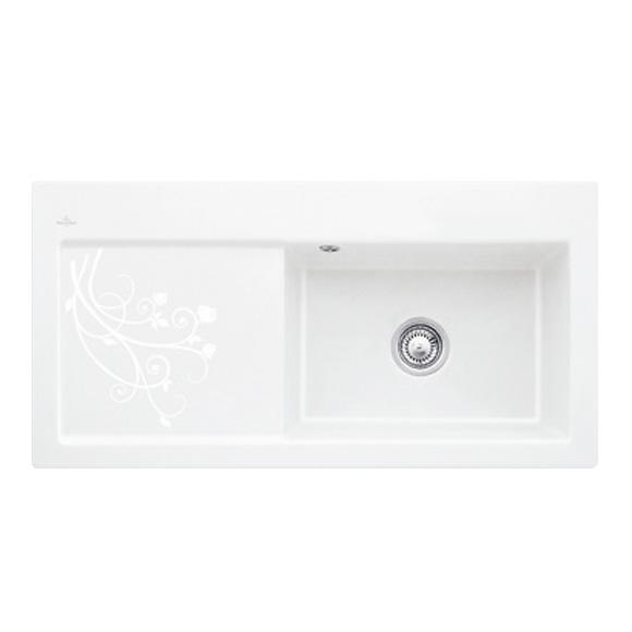 villeroy boch subway 60 xl sp le mit handbet tigung b 100 t 51 cm becken rechts dekor la. Black Bedroom Furniture Sets. Home Design Ideas